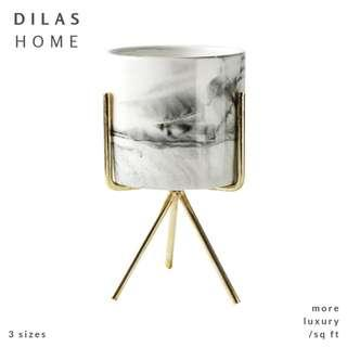 DILAS HOME | Marble Plant Pot with Gold Holder Tripod Stand