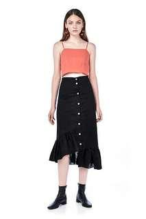 Copper button asymmetric skirt