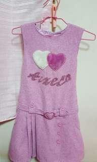 🚚 女大童紫色無袖綁帶愛心洋裝