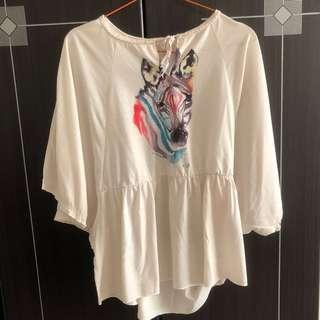 #yukjualan Zebra Batwing Shirt
