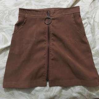 UNAROSA brown suede highwaisted skirt