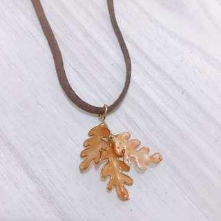 100% Handmade resin autumn leaves necklace