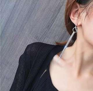 🚚 現貨純銀針交叉圓環閃鑽流蘇長款耳環/2色/修飾臉型/