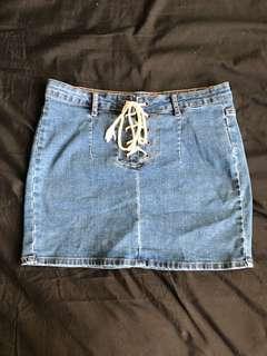 Cotton On Laced Denim Skirt