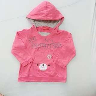 Elle專櫃品牌 小熊外套 長袖棉質薄上衣 帶帽子 有小口袋 二手