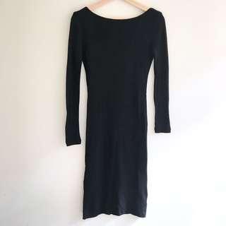 Kookai Backless Black Merino Wool Dress