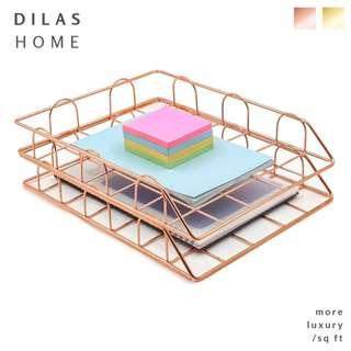 DILAS HOME | [SET of 2] Stackable Rose Gold A4 Tray
