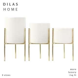 DILAS HOME | Nordic White Plant Pot with Gold Holder Stand