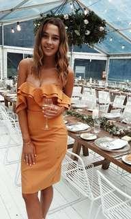 Orange off shoulder ruffle bodycon midi dress HIRE