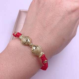 thailand gold double fish lucky red bracele