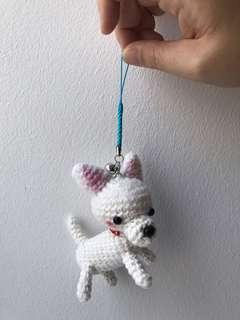 White dog key chain