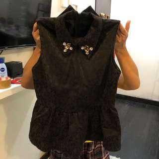 embellished jacquard top black