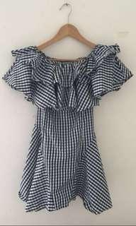 Off shoulder checkered dress with ruffles