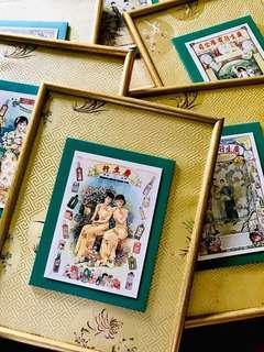 6pcs Vintage Chinese postcard mounted with frame