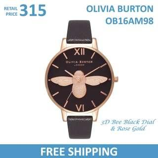Olivia Burton Ladies Watch 3D Bee Black Dial & Rose Gold OB16AM98
