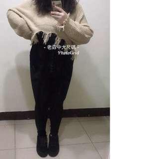 [孬中大尺碼]100公斤胖妹長腿神器✨六釦高腰百搭超顯瘦緊身修身長褲