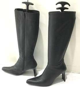🚚 真皮法國🇫🇷sissly實穿搭好走黑高筒靴.39號.筒長35cm筒寬19cm跟高8.5cm鞋撐不包括