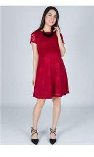 Classic Red Maternity and Nursing Dress