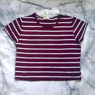 Maroon and white striped tee size L