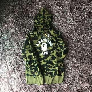 Bape Green First Camo College Pullover Hoodie