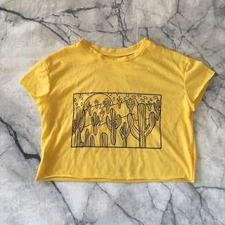 Yellow graphic crop tee XS