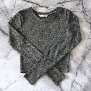 Grey long sleeve crop size XS