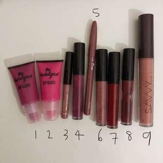 Assorted used lip products