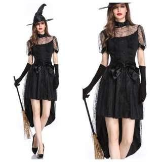 IN STOCK Black witch costume Halloween witch costume evil witch costume Dnd costume Cosplay party ghost ghoul costume classy witch costume