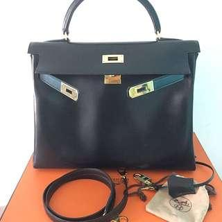 62c3cff28251 Vintage Hermes Kelly 32 Black Box Leather GHW