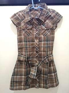EUC Byloz Kids Plaid Brown Top