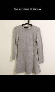 Zara TRF Long Sleeve Grey Dress