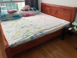 Wooden king size bed - Bed frame only
