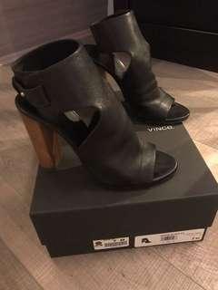 Vince Black leather heels