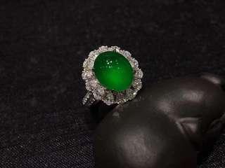 高冰熒光帝王綠天然翡翠A貨18K金鑲嵌戒指