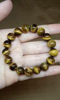Yellow Tiger's Eye Gemstone bracelet 10mm beads 1 pc only