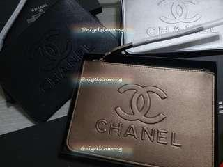 🌲🌹Chanel Christmas gift pouch case clutch vip gift 手提袋 香檳手提包