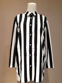 NEW(Beli Di Hongkong)!H&M Stripe Loose Shirt