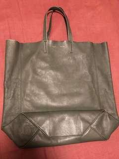 Authentic Celine Leather Vertical Olive Green Tote Bag
