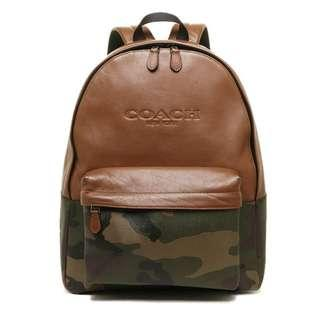 Authentic Coach Charles Print F72344 Green Camo Backpack