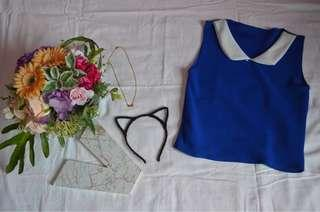 Code: C325 Style: blue sleeveless top Size: fit up to medium