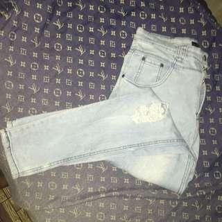 Washed ripped denim pants