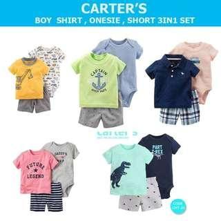 poshup Carter's 3-PC Set BOY ( shirt + bodysuit + short )