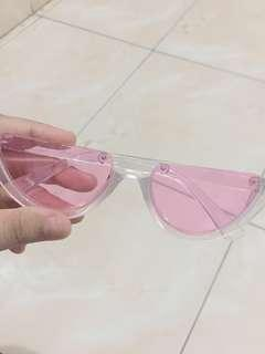 Kacamata Half Glasses Pink White