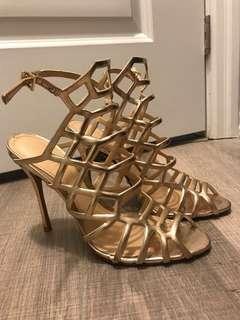 Schutz gold cage heels