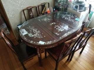 花梨木餐枱&椅子 (6/4人)