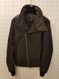 Rick Owens men S ramie with leather jacket