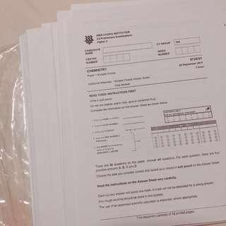 JC H2 Chemistry & Biology practice papers (prelim papers/alevels)