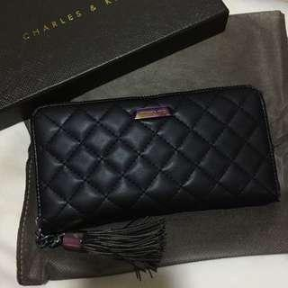 Charles and Keith Black Long Wallet with Tassel