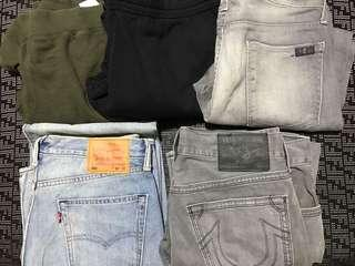5 x Levi's Jeans & Jogger Pants to clear