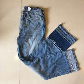 H&M 高腰濶腳牛仔褲 wide leg jeans special distress foot